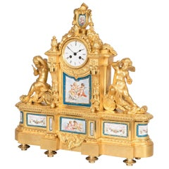 19th Century French Gilt Bronze and Porcelain Clock in the Louis XVI Taste