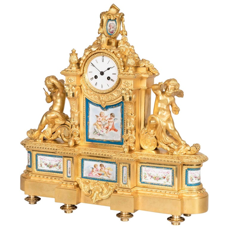 19th Century French Gilt Bronze and Porcelain Clock in the Louis XVI Taste For Sale