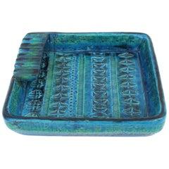 Aldo Londi for Bitossi Rimini Blue Glazed Ceramic Square Ashtray, Italy, 1960s