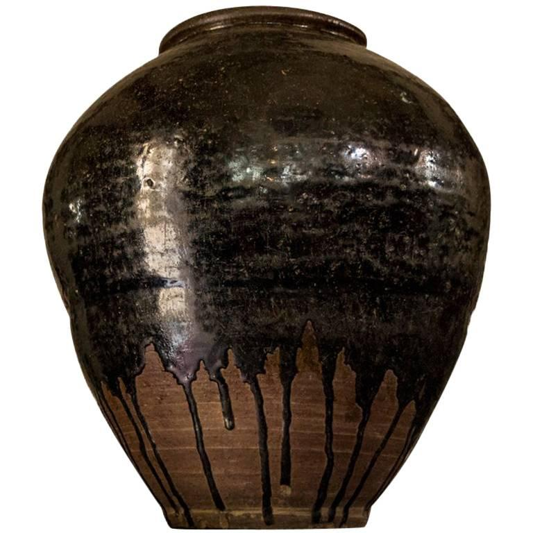 Late 18th Century Cambodian Khmer Brown Glazed Terracotta Urn