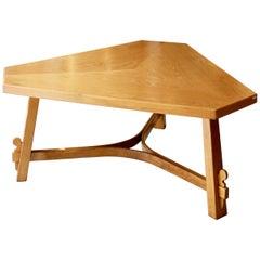 Large Triangular Oak Table