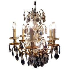 French Bronze Nine-Light Chandelier, Early 1900
