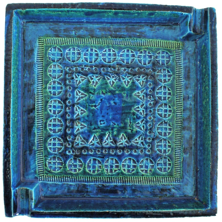 Large 1960s Bitossi by Aldo Londi Rimini Blue Glazed Ceramic Square Ashtray
