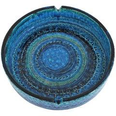 Aldo Londi Bitossi Rimini Blu Glazed Ceramic Large Circular Ashtray, Italy 1960s