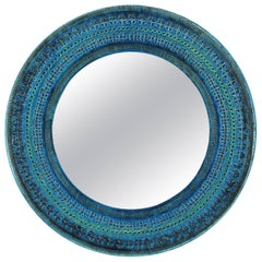 Unique Italian 1960s Bitossi Rimini Blue Glazed Ceramic Mirror by Aldo Londi