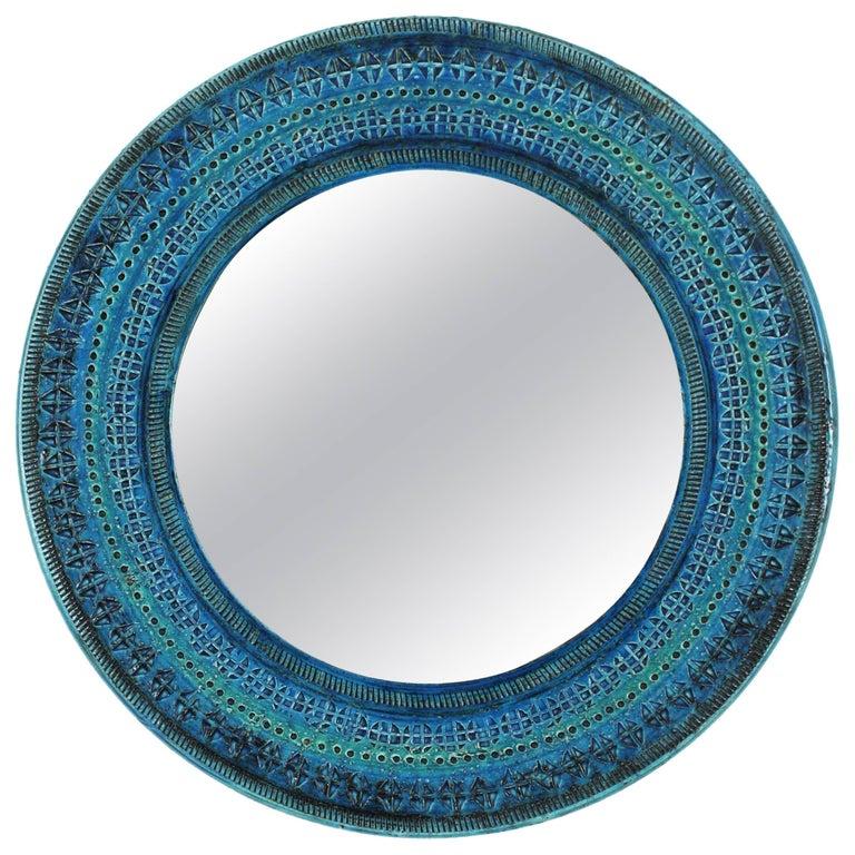 Unique Italian 1960s Bitossi Rimini Blue Glazed Ceramic Mirror by Aldo Londi