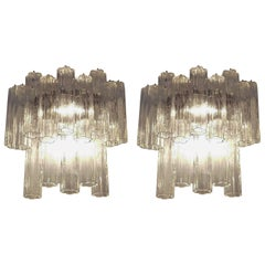 "Pair of Large Venini, ""Tronchi"" Murano Glass Sconces"