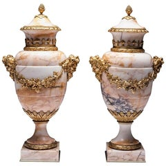 Fine Pair of Ormolu Vases with Gilded Bronze