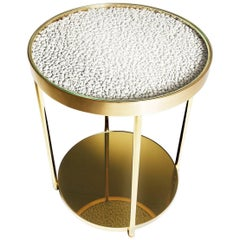 Contemporary Polished Brass Hemlock Side Table with Golden Mirror Base