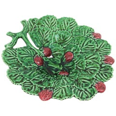 Large Majolica Leaf and Strawberries Ceramic Platter Centerpiece, Portugal 1950s