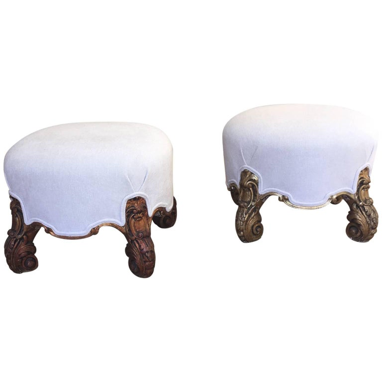 Pair of Italian Stool in Carved Wood, circa 1900