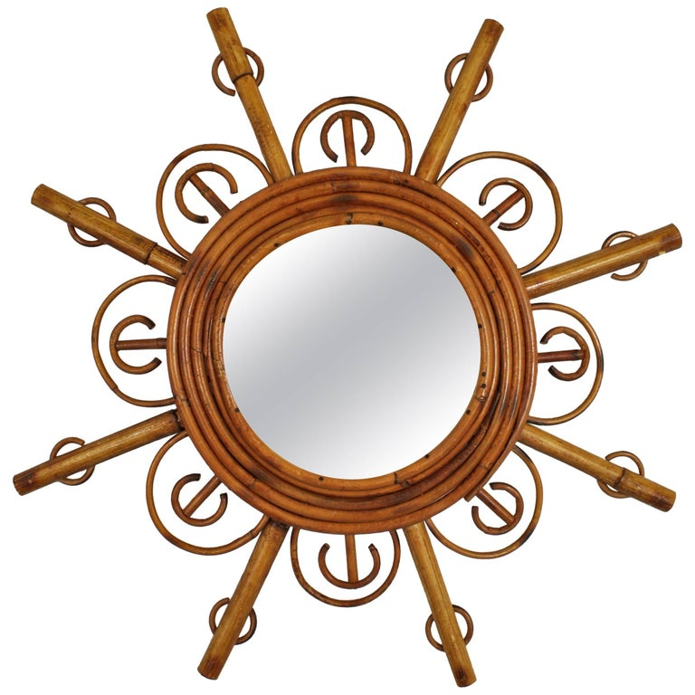 French Riviera Handcrafted Bamboo and Rattan Sunburst Mirror, France, 1950s