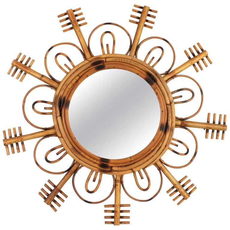 Rare 1950s French Riviera Bamboo and Rattan Flower Burst Sunburst Mirror