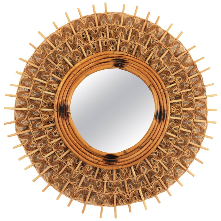 Spanish Mid-Century Modern Braided Jute and Rattan Sunburst Mirror, Spain, 1960s