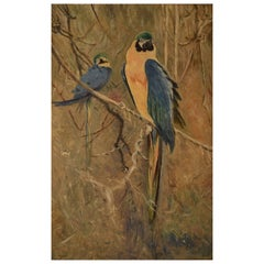 Unknown French Artist, Parrots, 1929, Oil on Canvas