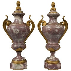 Pair of Louis XV Style Bronze Lavender Marble Urns