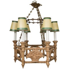 French Beechwood Empire Style Chandelier
