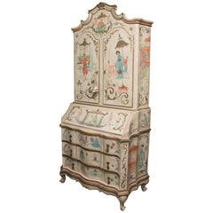Chinoiserie and Cream-Painted Italian Queen Anne Style Secretary