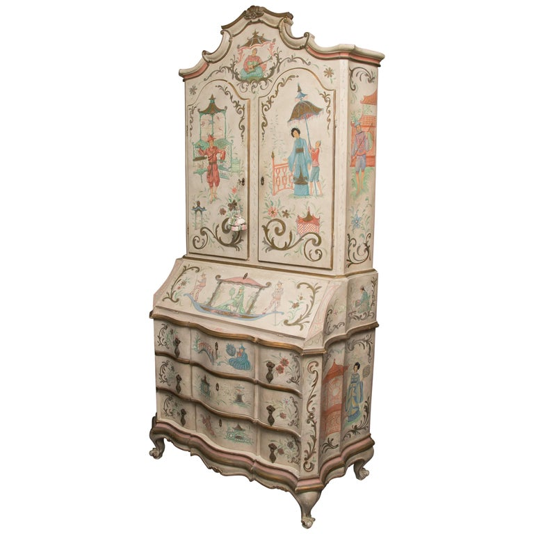 Chinoiserie and Cream-Painted Italian Queen Anne Style Secretary For Sale