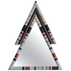 Contemporary Handcrafted Pontiac Triangle Mirror with Paul Smith Upholstery