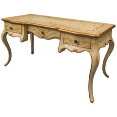 Cream-Painted and Decorated Louis XV Style Writing Table