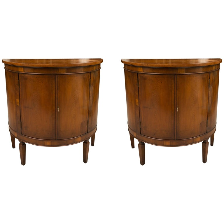 Pair of Cherrywood Biedermeier Style Demilune Cabinets For Sale
