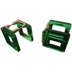 Pair of Vintage Murano Green Glass Handles, Italy, 1970s