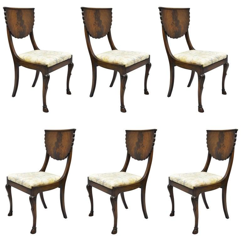 Crotch Mahogany Hoof Foot Regency Style Dining Chairs Klismos Saber Leg