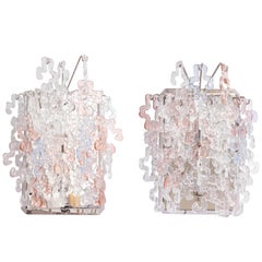 Rose and Pale Blue and Clear Glass Waterfall Sconces by J.T.Kalmar
