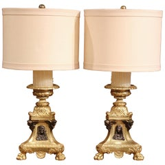 Pair of 19th Century French Patinated Bronze Candlesticks Made into Table Lamps