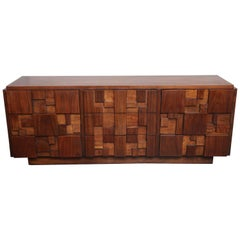 Brutalist Lane Walnut Dresser in the Manner of Paul Evans