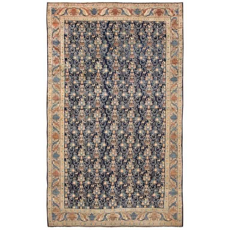 Blue Background Large Antique Persian Senneh Rug