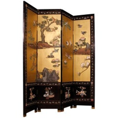 Chinese Screen in Lacquered and Painted Chinoiserie Wood from 20th Century