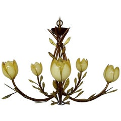 Possoni Italy, Chandelier with Frame of Bronze-Colored Metal with Foliage