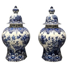 Pair of Dutch Delft Blue and White Covered Vases of Large-Scale