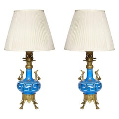 Pair of Neo-Grec Ormolu Mounted Oil Lamps Converted to Electricity