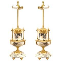 Pair of French Victorian Marble and Bronze Urn Table Lamps