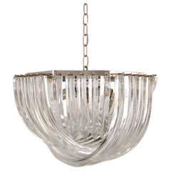 Curvati Murano Chandelier by Carlo Nason for Crystal Triedri, 1980s