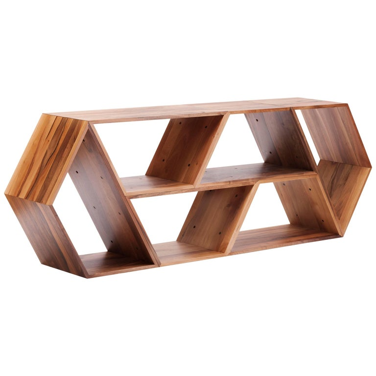 Tetra, Solid Walnut Contemporary Customisable Shelving Units by Made in Ratio For Sale