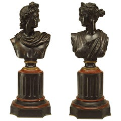 Pair of French Victorian Bronze Busts of Apollo and Diana
