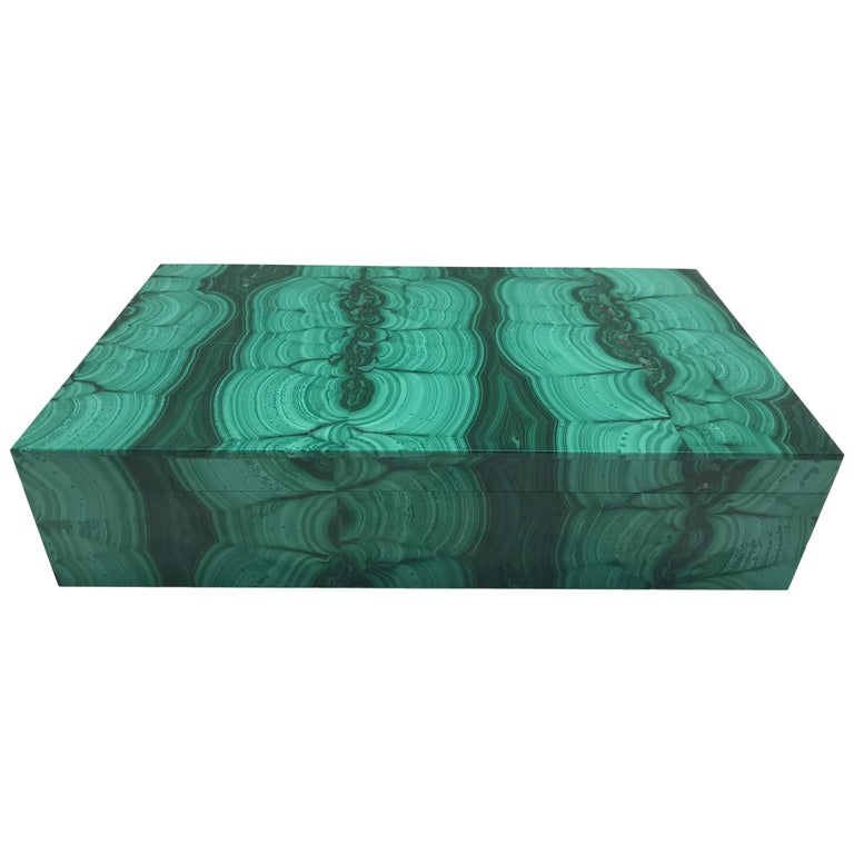 Very Large Malachite Box with Hinged Lid