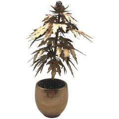 Gilded Tole Marijuana or Cannabis Potted Plant, Park Avenue Pot Plant