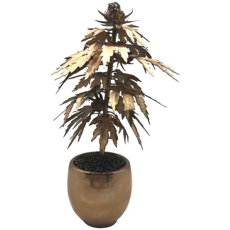 Gilded Tole Marijuana or Cannabis Potted Plant, Park Avenue Pot Plant