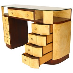 "French Art Deco Mahogany and Parchment Veneered ""D"" Shaped Dressing Table Desk"
