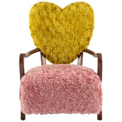 Contemporary Uni Armchair with Heart Shaped Back and Pink and Yellow Mohair