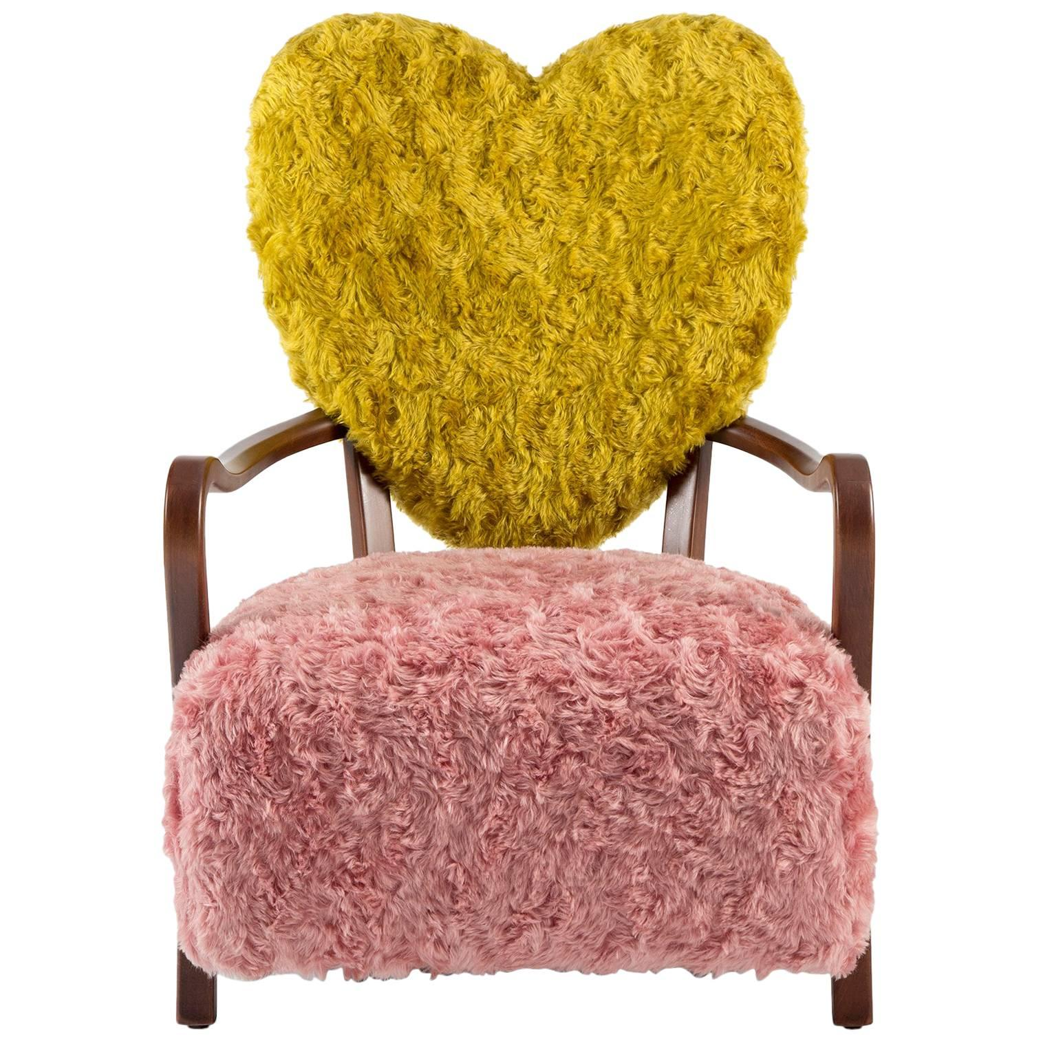 Contemporary Uni Armchair With Heart Shaped Back And Pink And Yellow Mohair  For Sale