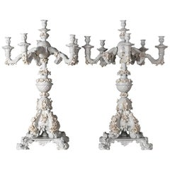 Handcrafted White Porcelain Neoclassical Italian Candlesticks, 1950s
