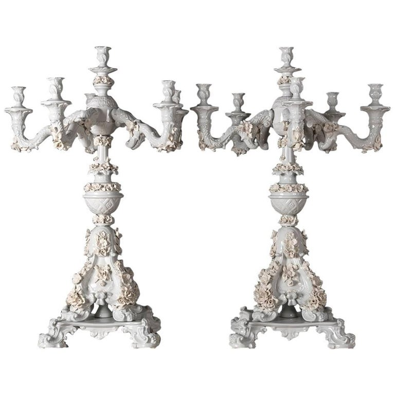Handcrafted White Porcelain Neoclassical Italian Candlesticks, 1950s For Sale