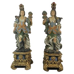 Pair of 18th Century Continental Figural Maiden Statues on Pedestals