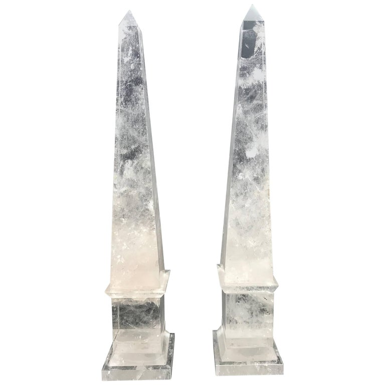 Rock Crystal Obelisks from Brazil in the Neoclassical Grand Tour Style, a Pair